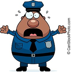 A cartoon illustration of an police officer looking scared.