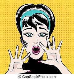 Scared pop art woman with his mouth open and hands raised. ...