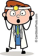 Scared - Professional Cartoon Doctor Vector Illustration