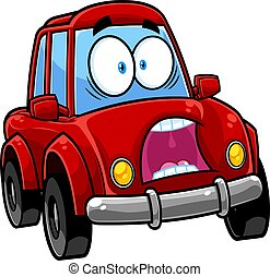 Scared Red Car Cartoon Character