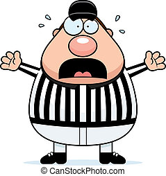 Scared Referee - A cartoon referee with a scared expression.