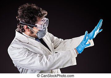 scared researcher in labcoat