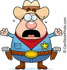 Scared Sheriff - A cartoon sheriff with a scared expression.