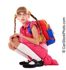 Scared sitting schoolchild in eyeglasses. Isolated.