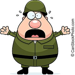 A cartoon illustration of an army soldier looking scared.