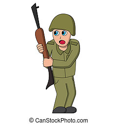 Scared soldier. Isolated stock illustration