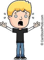 Scared Teen Boy - A cartoon illustration of a teenage boy...