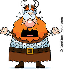 Scared Viking - A cartoon viking with a scared expression.