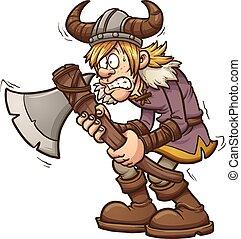 Scared viking - Scared cartoon viking. Vector clip art...