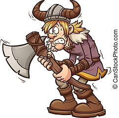 Scared viking - Scared cartoon viking. Vector clip art...