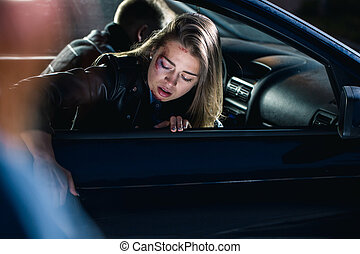 Scared woman after the accident
