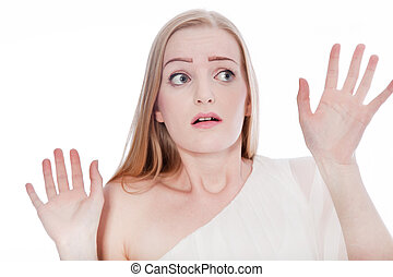 Scared Woman Raising Hands Up