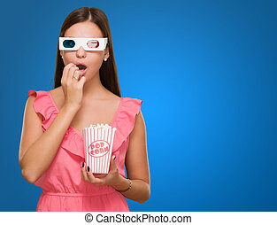 Scared Woman Watching 3d Movie