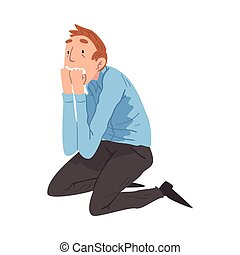 Scared Young Man Sitting on the Floor on His Knees with Hands on Face, Anxiety or Panic Attack, Stressed or Depressed Nervous Person Vector Illustration