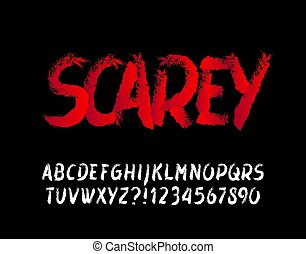 Scarey alphabet font. Messy brush stroke letters and numbers. Hand drawn vector typography for your Halloween typography.