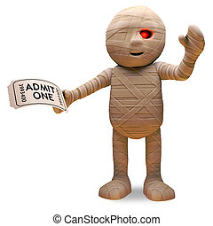 Scarey Egyptian mummy has a ticket of admission to the show, 3d illustration render