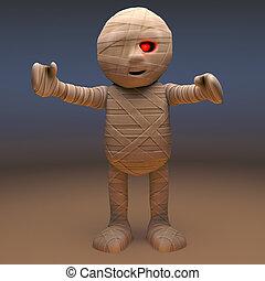 Scarey Egyptian mummy monster lumbers towards you, 3d illustration render