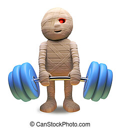 Scarey undead Egyptian mummy lifting some heavy weights, 3d illustration render