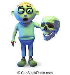 Scarey undead zombie monster holding a human skull, 3d illustration render
