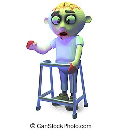 Scarey undead zombie monster is using a walking frame today, 3d illustration render