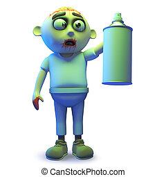 Scarey undead zombie monster using an aerosol spraycan, 3d illustration render