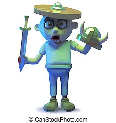 Rendered image of a scarey undead zombie monster wearing a shield and getting confused, 3d illustration