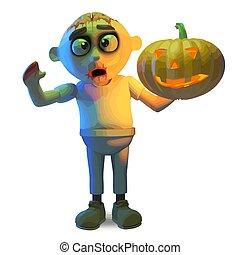 Scarey zombie monster celebrates Halloween with a pumpkin, 3d illustration render