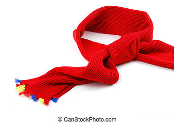 Scarf. A winter warm red scarf with colour brushes.