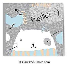 scarf., bianco, carino, gatto