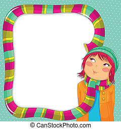 scarf frame - girl with a long scarf and space for text