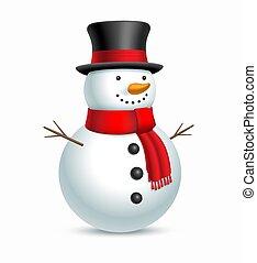 scarf., jul hatt, snögubbe, vektor