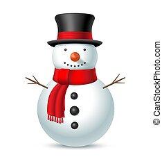scarf., jul, vektor, snögubbe hatt