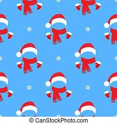 scarf., mitaines, chapeau, claus, noël, nouvelle année, seamless, décoration, pattern., santa