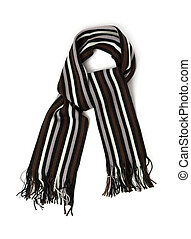Striped knitted woollen scarf isolated on white