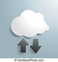 scaricare, bianco, upload, nuvola