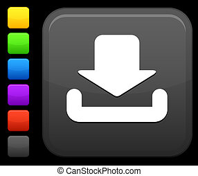 scaricare, bottone, quadrato, icona, internet