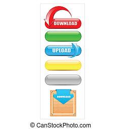 scaricare, bottoni, upload