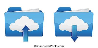 scaricare, calcolare, upload, nuvola, icone