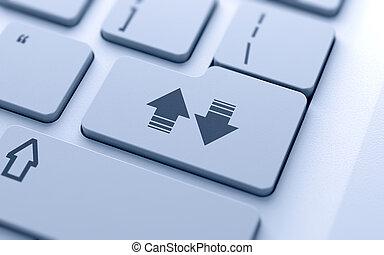scaricare, e, upload, frecce, bottone