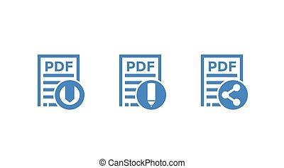 scaricare, file, redigere, icone, pdf, documento, vettore