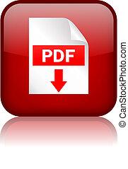 scaricare, pdf, bottone, quadrato