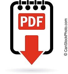 scaricare, pdf, documento, icona