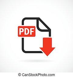 scaricare, pdf, file, icona