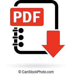 scaricare, pdf, icona
