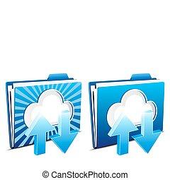 scaricare, upload, nuvola, calcolare
