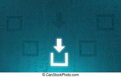 scaricare, virtuale, attivo, scatola