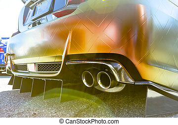 scarico, automobile, tubi per condutture, lente, concreto, doppio, arancia, acume