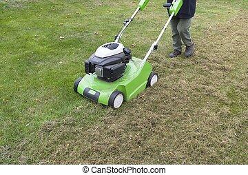 Scarify lawn, lawn aeration using a scarifier