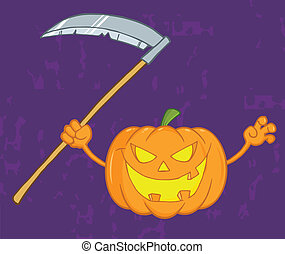 Scaring Halloween Pumpkin With A Scythe And Background