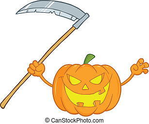 Scaring Halloween Pumpkin With A Scythe Cartoon Illustration